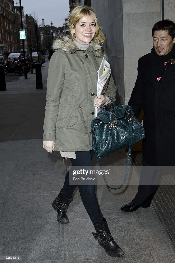 Holly Willoughby sighted at BBC Radio One Studios on February 28, 2013 in London, England.