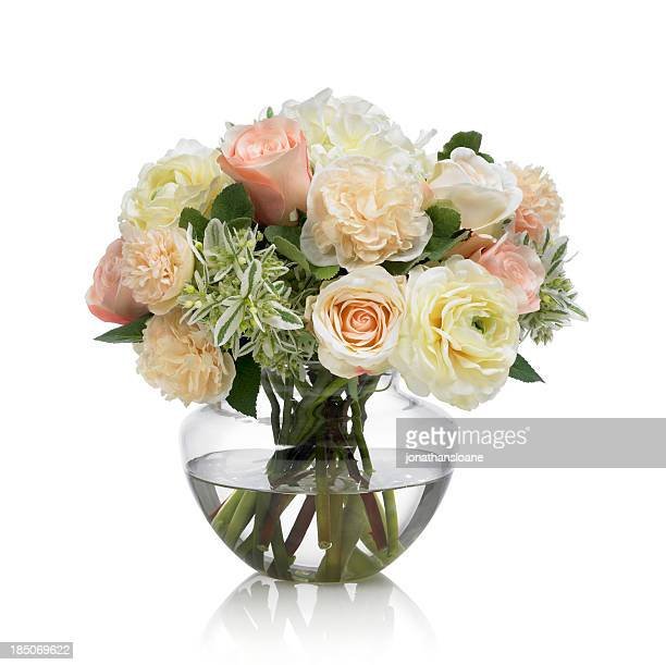 Hollyhock and Rose bouquet on white background