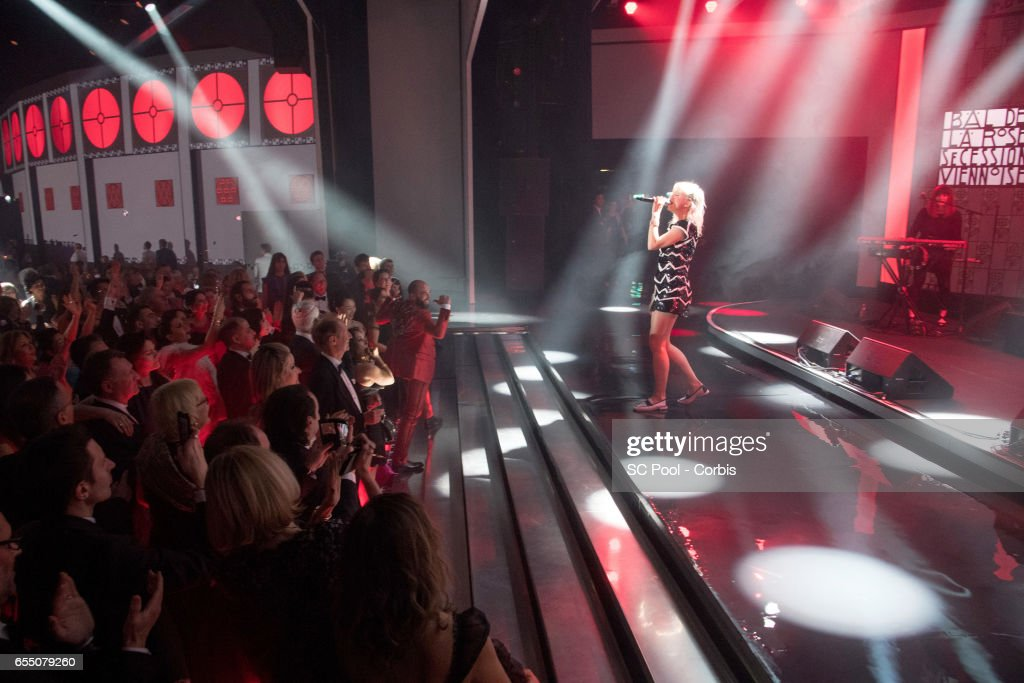 Hollysiz (Cecile Cassel) performs on stage during the Rose Ball 2017 Secession Viennoise To Benefit The Princess Grace Foundation at Sporting Monte-Carlo on March 18, 2017 in Monte-Carlo, Monaco.
