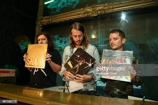Hollywood actor and DJ Elijah Wood along with Zach Cowie with whom he makes the Woody Wisdom DJ group and Dj Fitz before a party on September 4 2015...