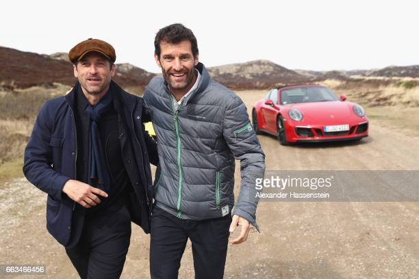 Hollywood actor and racecar driver Patrick Dempsey attends with Porsche Brand Ambassador Mark Webber the Grand Opening of 'Porsche auf Sylt' on April...