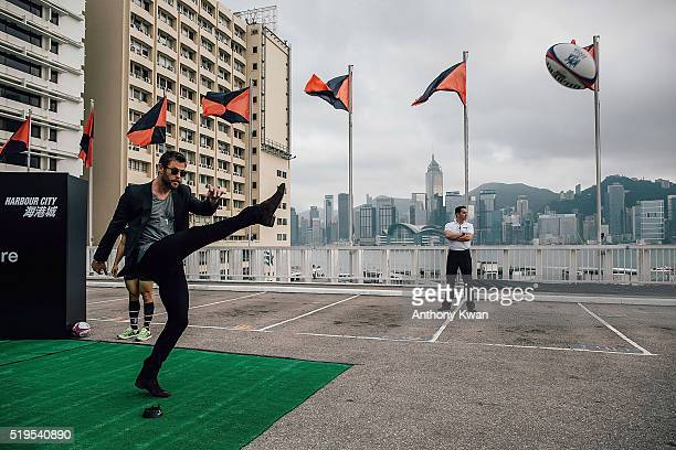 Hollywood actor Chris Hemsworth attends a Hong Kong Rugby Sevens 'kick off' event on April 7 2016 in Hong Kong The Hong Kong Sevens brought in...