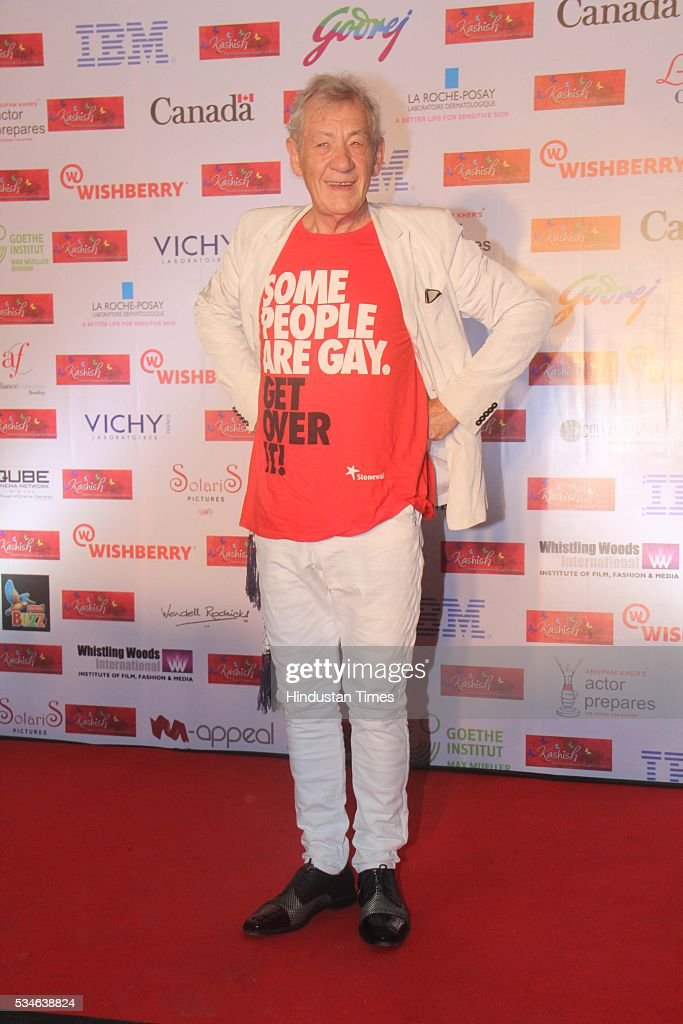 Hollywood actor Ian McKellen during the opening ceremony of the 7th Kashish Mumbai International Queer Film Festival, at Liberty Cinema, Marine Lines, on May 25, 2016 in Mumbai, India. During a ceremony, McKellen said, 'I just want to say how happy I am to be at Kashish; it's my first visit to Mumbai. I made many friends already and I hope this evening to make many more. I've come to Mumbai to celebrate Shakespeare and to celebrate the connections between the United Kingdom and your country. And I've also come to support those who want to get rid of section 377 (which criminalizes homosexuality).'
