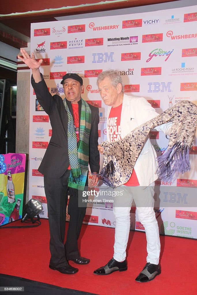Hollywood actor Ian McKellen with LGBT activist Sridhar during the opening ceremony of the 7th Kashish Mumbai International Queer Film Festival, at Liberty Cinema, Marine Lines, on May 25, 2016 in Mumbai, India. During a ceremony, McKellen said, 'I just want to say how happy I am to be at Kashish; it's my first visit to Mumbai. I made many friends already and I hope this evening to make many more. I've come to Mumbai to celebrate Shakespeare and to celebrate the connections between the United Kingdom and your country. And I've also come to support those who want to get rid of section 377 (which criminalizes homosexuality).'