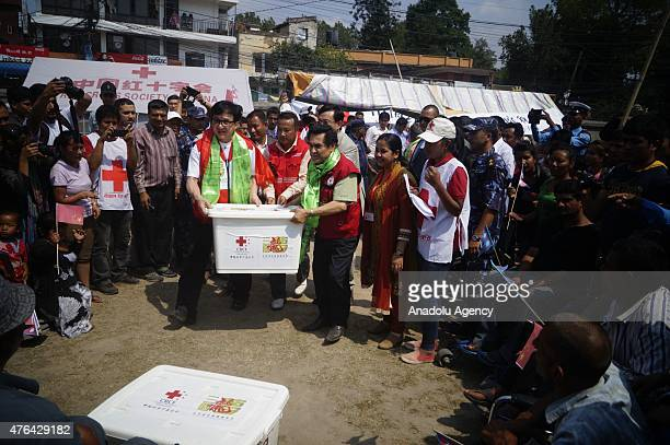 Hollywood actor Jackei Chan distributes relief to the earthquake victims in Lalitpur on June 9 2015 Jackie Chan is for one day visit to Nepal to...