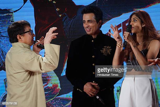 Hollywood actor Jackie Chan with Bollywood actor Sonu Sood and actress Shilpa Shetty during promotion of upcoming film Kung Fu Yoga at JW Marriot on...