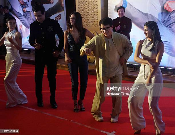 Hollywood actor Jackie Chan with Bollywood actor Sonu Sood during promotion of upcoming film Kung Fu Yoga at JW Marriot on January 23 2017 in Mumbai...