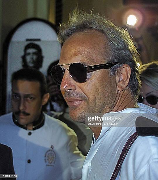 Hollywood actor Kevin Costner arrives 09 April 2001 in Havana Cuba for a screening of '13 Days' his movie on the 1962 Cuban missile crisis which he...