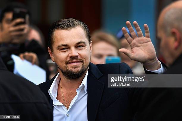 Hollywood actor Leonardo DiCaprio arrives at Home restaurant during his first visit on November 17 2016 in Edinburgh Scotland The Oscar winning actor...