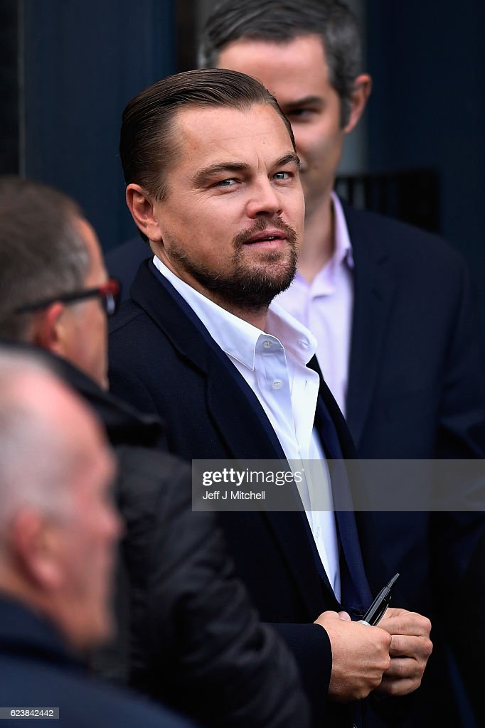 Hollywood actor Leonardo DiCaprio arrives at Home restaurant during his first visit on November 17, 2016 in Edinburgh, Scotland. The Oscar winning actor is in Edinburgh to speak at the Scottish Business Awards at the Edinburgh International Conference Centre.
