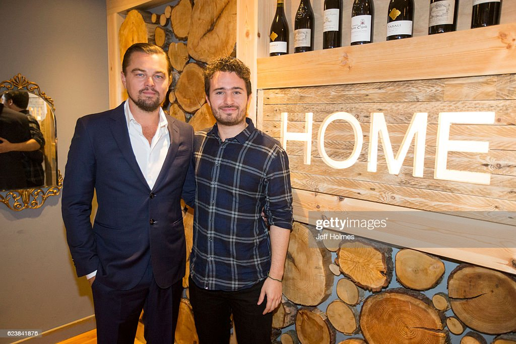 Hollywood actor Leonardo DiCaprio poses with social entrepreneur Josh Littlejohn at Social Bite restaurant, Home on November 17, 2016 in Edinburgh, Scotland. The new Edinburgh 'pay it forward' restaurant, Home, owned by Social Bite and operated by Dean Gasdsabi of Maison Bleue restaurants, was set up to provide food, training and employment opportunities for homeless people in Scotland.