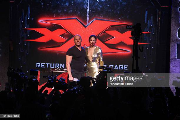 Hollywood actor Vin Diesel and Bollywood actor Deepika Padukone during a 'meet and greet' with fans to promote the film 'xXx Return of Xander Cage'...