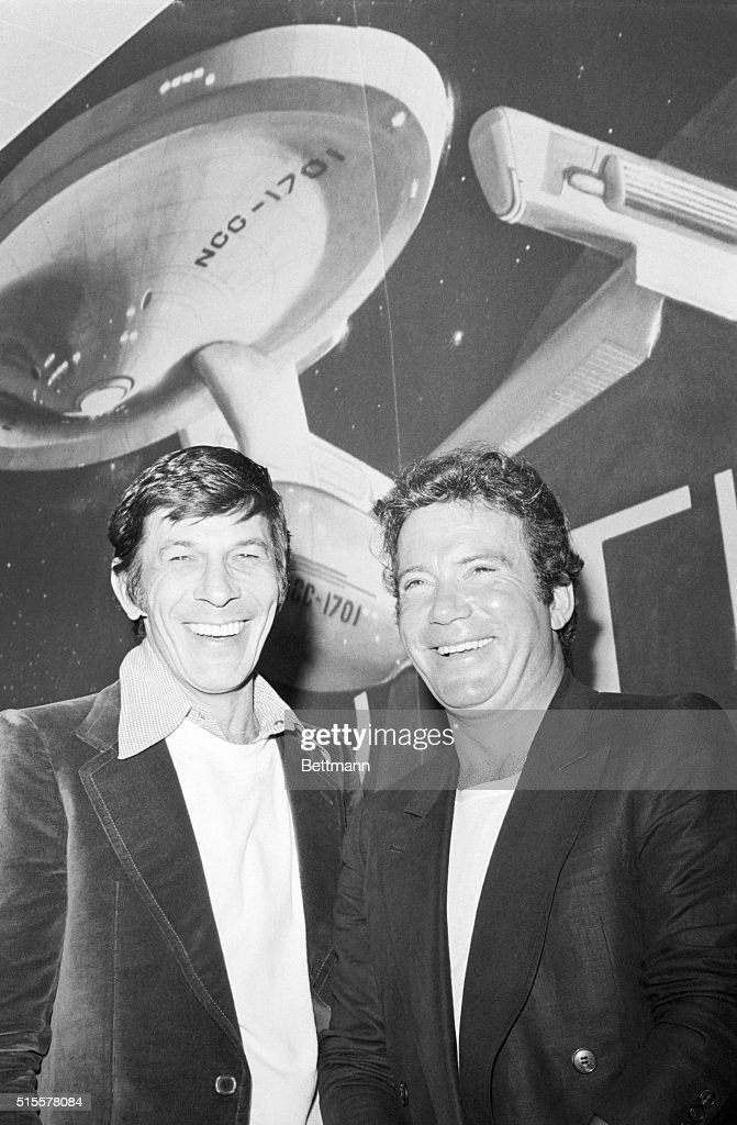 Actors Leonard Nimoy and William Shatner are all smiles at a preconference at Paramount Studios in which it was announced that they will again play...