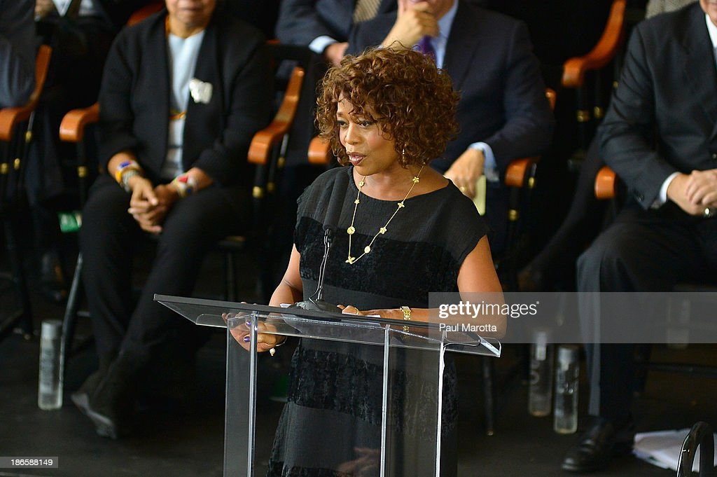 Hollywood actress <a gi-track='captionPersonalityLinkClicked' href=/galleries/search?phrase=Alfre+Woodard&family=editorial&specificpeople=220969 ng-click='$event.stopPropagation()'>Alfre Woodard</a> attends the unveiling of the statue in honor of Boston Celtics legend Bill Russell by artist Ann Hirsch at Boston City Hall Plaza on November 1, 2013 in Boston, Massachusetts.