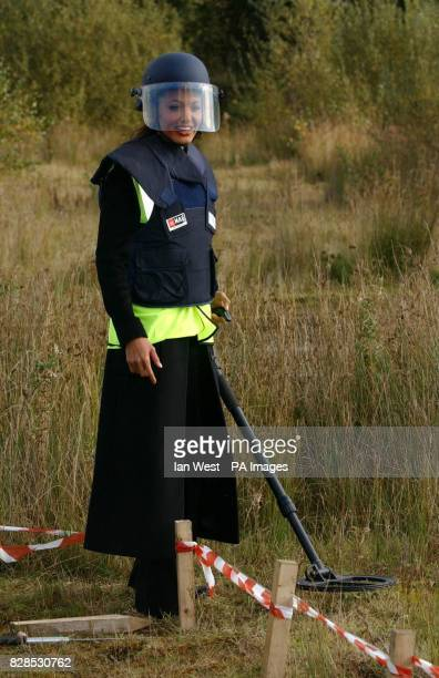 Hollywood actress and patron of the AdoptaMinefield charity Angelina Jolie during a visit to a demining centre near Northwich in Cheshire