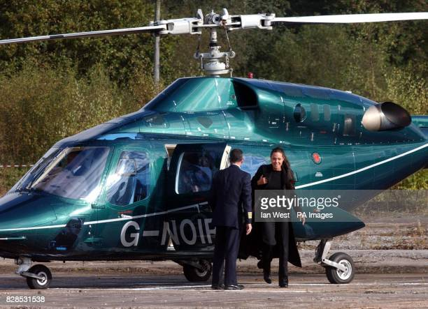 Hollywood actress and patron of the AdoptaMinefield charity Angelina Jolie arrives by helicopter for visit to a demining centre near Northwich in...