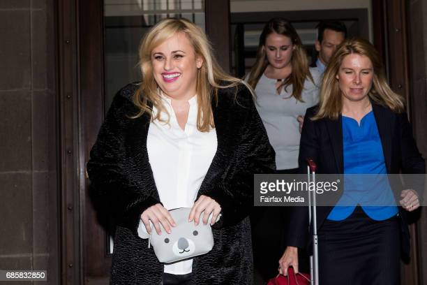 Hollywood actress Rebel Wilson is seen appearing at the Supreme Court in Melbourne ahead of her defamation trial against magazine publishing house...