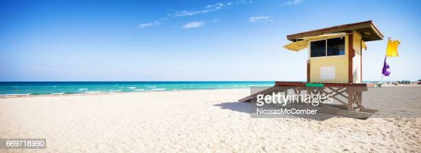 Hollywood beach Florida panoramic landscape with lifeguard hut