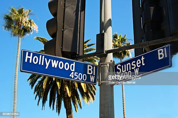 Hollywood Bl and Sunset Bl street sign