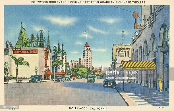 Hollywood Boulevard looking east from Graumans Chinese Theatre Hollywood California 1935
