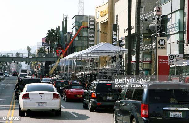Hollywood Boulevard which will be closed from Wednesday for the 80th Oscar ceremony held at the Kodak Theatre in Los Angeles