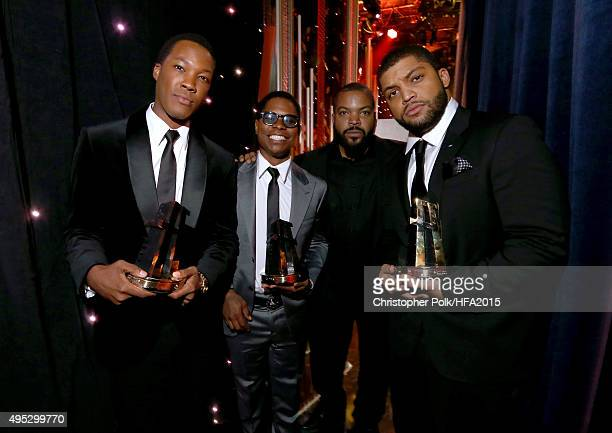 Hollywood Breakout Ensemble Award honorees Corey Hawkins Jason Mitchell O'Shea Jackson Jr and rapper/actor Ice Cube pose during the 19th Annual...