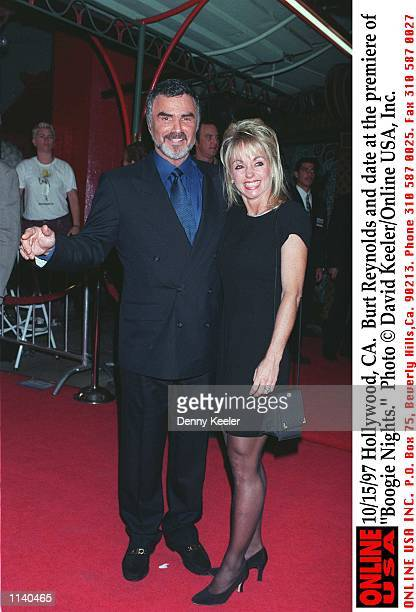 Hollywood CA Burt Reynolds and date at the premiere of 'Boogie Nights'