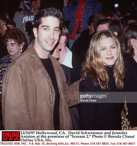 Hollywood CA David Schwimmer and Jennifer Aniston at the premiere of 'Scream 2'