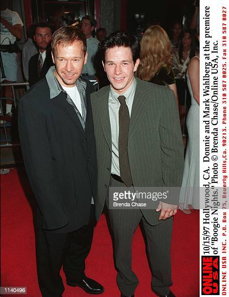 Hollywood CA Donnie and Mark Wahlberg at the premiere of 'Boogie Nights'