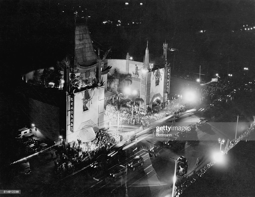 Exterior view of Grauman's Chinese Theater at night from a rooftop angle Famous movie premiere sight and often home of the Annual Academy Awards...