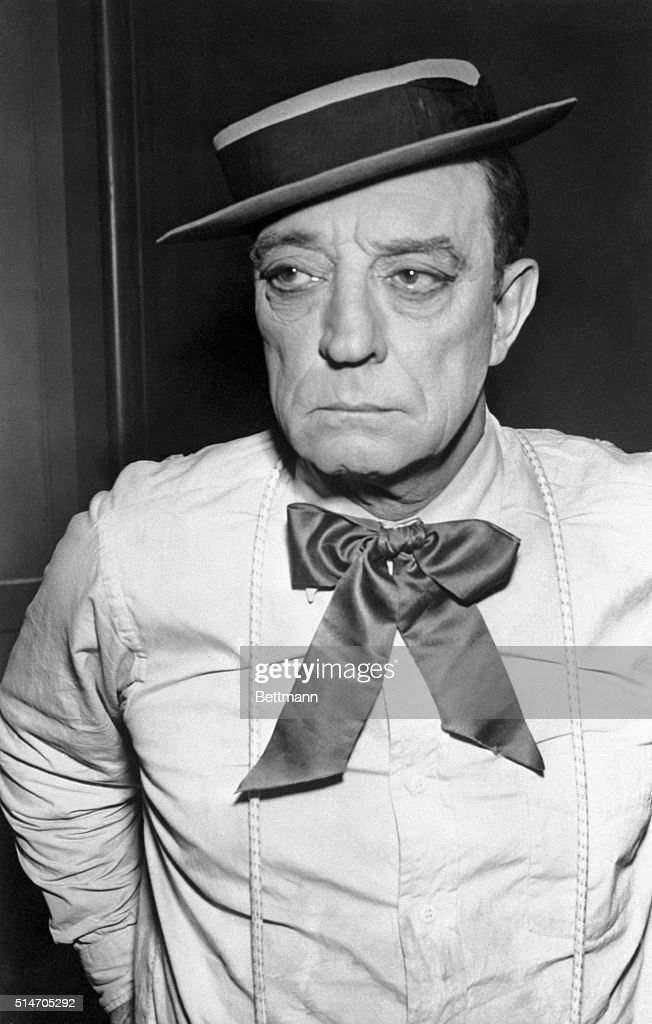 Frozen faced comedian of silent films, Buster Keaton, was reported in 'very grave' condition at Sawtelle Hospital Dec 5th, suffering froma gastrointestinal ailment. He is shown as he will appear in the NBC-TV telefilm 'The Silent Partner' December 21st. In which he re-enacts many of the slapstick routines which made him famous.