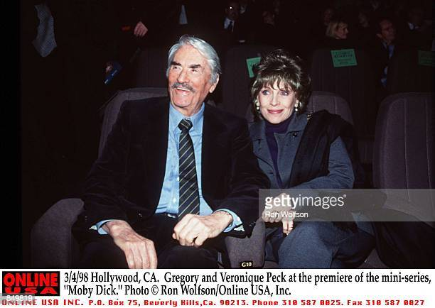 Hollywood CA Gregory and Veronique Peck at the premiere of the miniseries 'Moby Dick' Airs March 1516 1998 on the USA Network