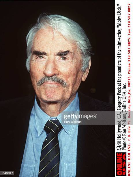 Hollywood CA Gregory Peck at the premiere of the miniseries 'Moby Dick' Airs March 1516 1998 on the USA Network