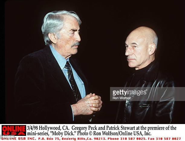 Hollywood CA Gregory Peck with the new ''Captain Ahab'' Patrick Stewart at the premiere of the miniseries 'Moby Dick' Airs March 1516 1998 on the USA...
