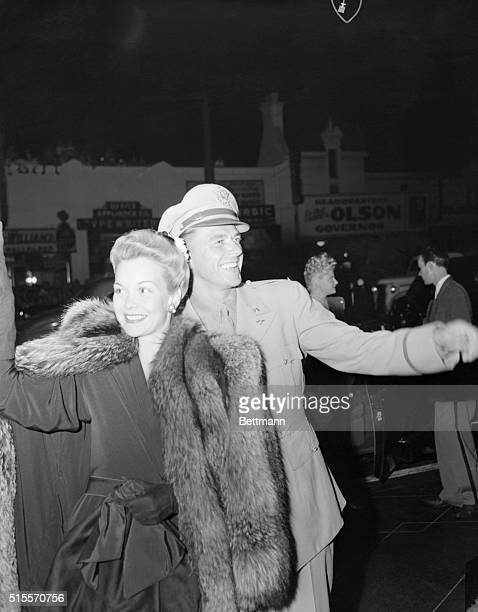 Premiere of the The Pride of the Yankees at the Pantages Theater in Hollywood Calif Lieut Ronald Reagan and his wife Jane Wyman arrive to see the...