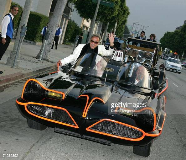 Hollywood car creator George Barris arrives in the TV Batmobile for the Friars of Beverly Hills celebrity fundraiser dinner gala presenting their...