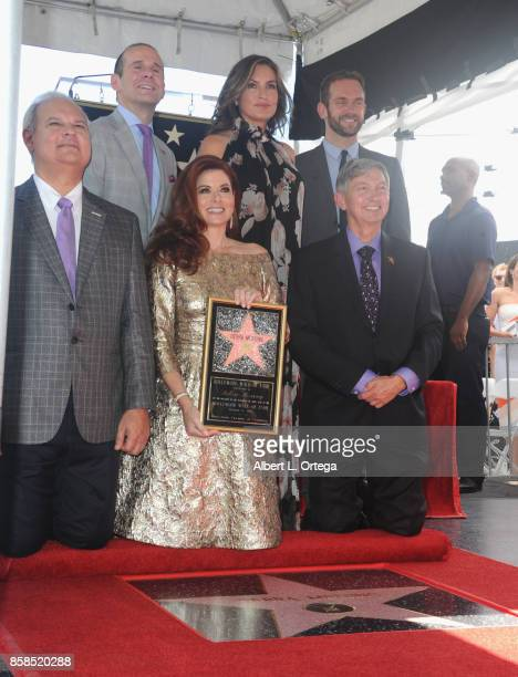 Hollywood Chamber of Commerce Chair of the Board Jeff Zarrinnam executive producer Max Mutchnick actresses Debra Messing and Mariska Hargitay...