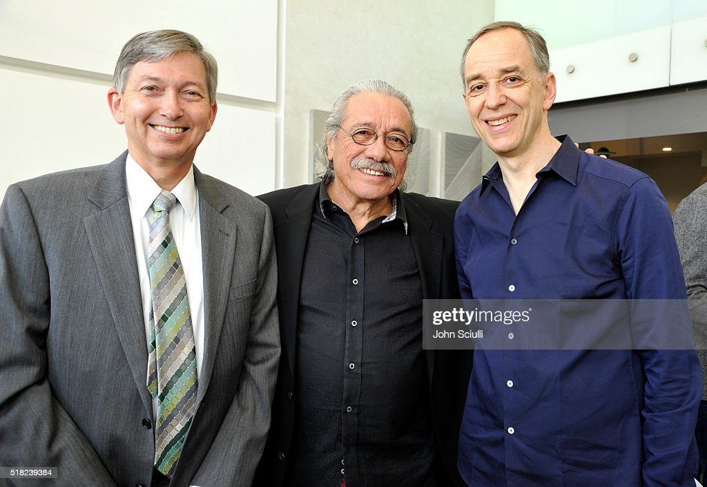 Hollywood Chamber of Commerce President and CEO Leron Gubler Actor Edward James Olmos and Technicolor CEO Frederic Rose attend the celebration of...