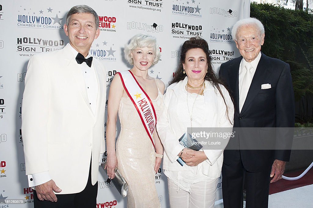 Hollywood Chamber of Commerce president Leron Gubler guest sponsor Donelle Dadigan and Bob Barker attend the Hollywood Sign's 90th Anniversary at...