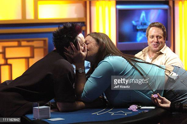 'Hollywood' Dave Stann and Camryn Manheim during Celebrity Blackjack Matt Vasgersian hosts Celebrity Blackjack a one hour weekly tournament featuring...