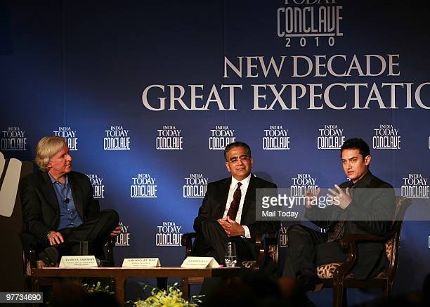 Hollywood director James Cameroon India Today group chairman Aroon Purie and actor Aamir Khan at the second day of the India Today Conclave in New...