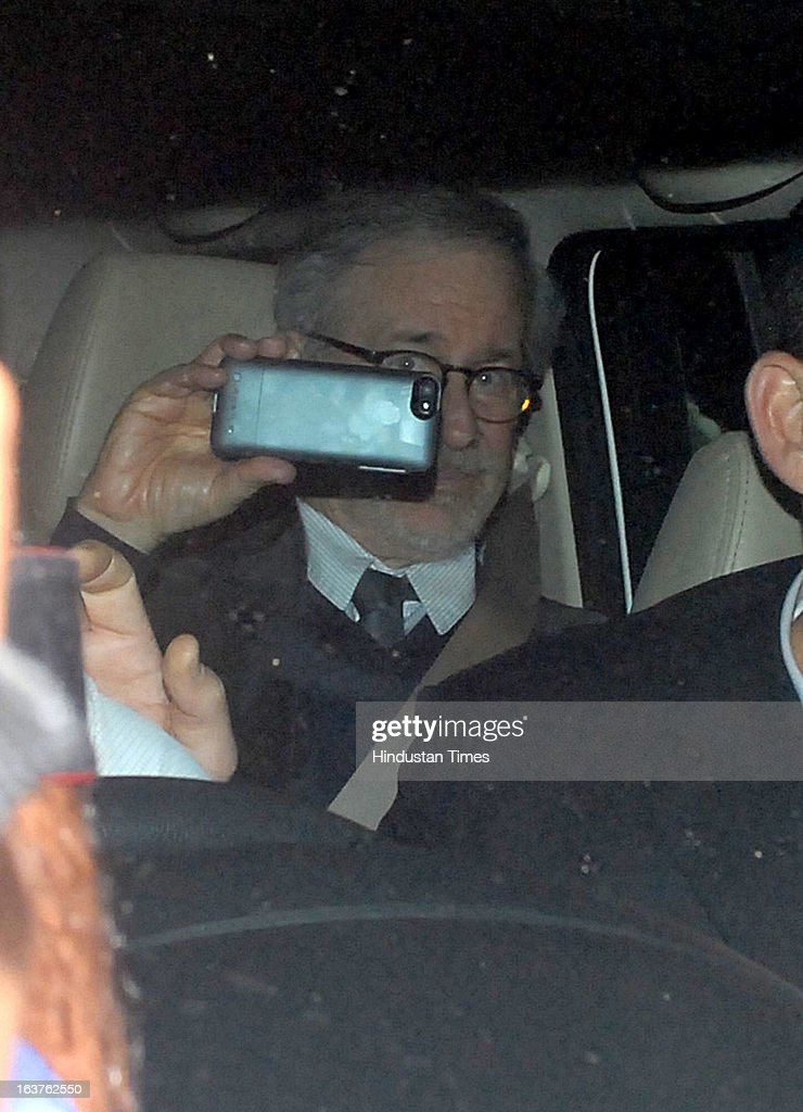 Hollywood director Steven Spielberg arriving for the party which is organised by Anil Ambani, chairman of Anil Dhirubhai Ambani Group at Taj President, Cuffe Parade on March 12, 2013 in Mumbai, India. Spielberg is in India to celebrate the success of his film Lincoln, a co-production between his banner DreamWorks and Anil Ambani's Reliance Entertainment.