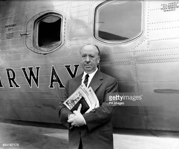 Hollywood film director Alfred Hitchcock at London Airport as he was about to board a BEA liner for Paris