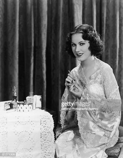 Hollywood film star Fay Wray manicuring her nails circa 1935