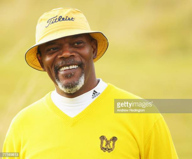 Hollywood film star Samuel L Jackson in happy mood during the final practice round prior to the Alfred Dunhill Links Championship on October 03 2007...
