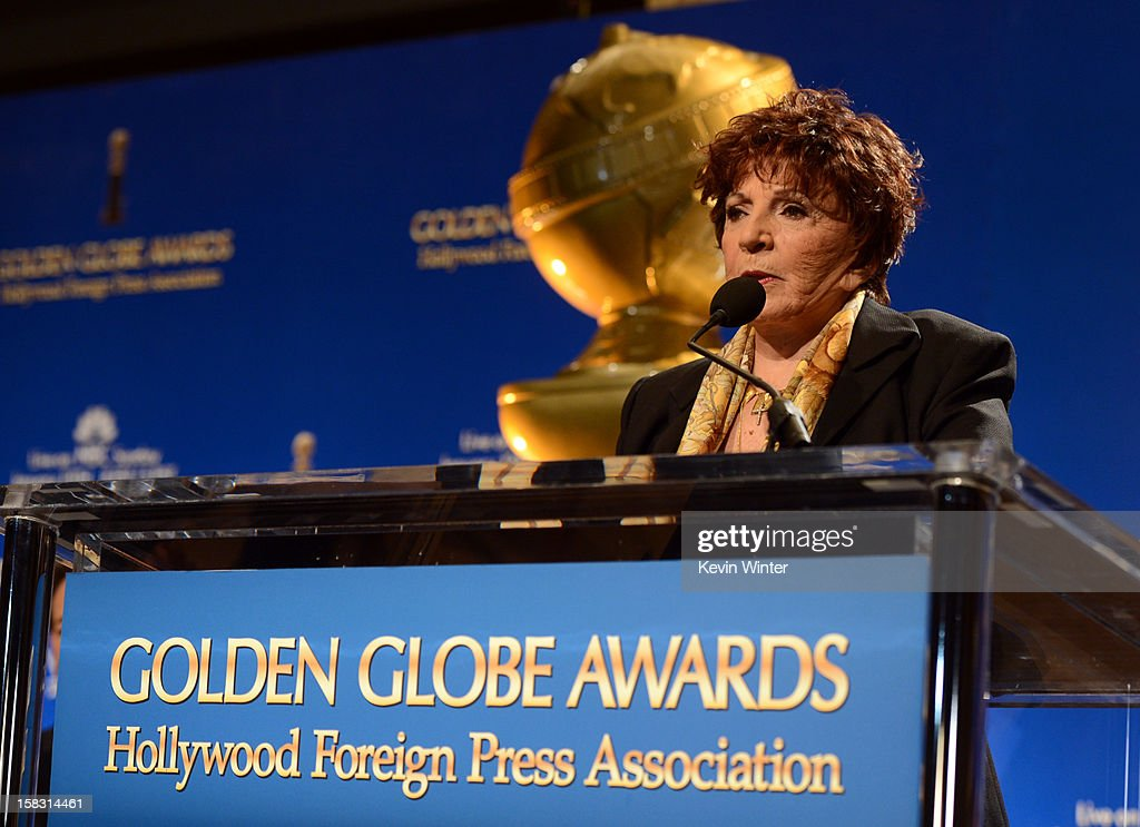 Hollywood Foreign Press Association (HFPA) President Dr. Aida Takla-O'Reilly speaks onstage during the 70th Annual Golden Globes Awards Nominations at the Beverly Hilton Hotel on December 13, 2012 in Los Angeles, California.