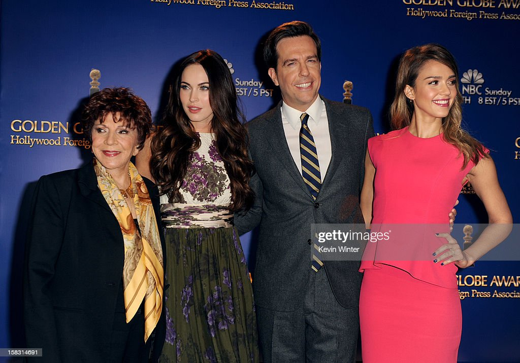 Hollywood Foreign Press Association (HFPA) President Dr. Aida Takla-O'Reilly, actors Megan Fox, Ed Helms, and Jessica Alba pose onstage during the 70th Annual Golden Globes Awards Nominations at the Beverly Hilton Hotel on December 13, 2012 in Los Angeles, California.