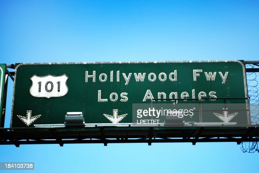 101 Hollywood Freeway exit towards Los Angeles sign.