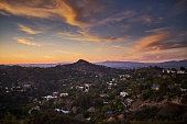 hollywood hills at dusk with colorful sky shot from runyon canyon