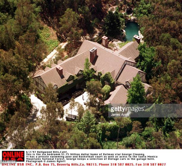 Hollywood Hills Calif This is the 6 Bedroom $175 Million Dollar Home of Batman Star George Clooney It has a private swimming pool and basketball...
